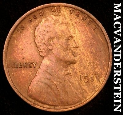 1911 Lincoln Wheat Cent - Extra Fine!!  Scarce!!  Better Date!!  #d3679