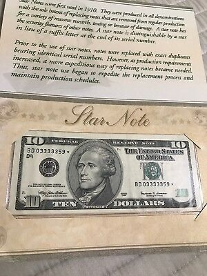 1999 $10 Star Note  Repeater Serial With Booklet Gem Uncirculated 359