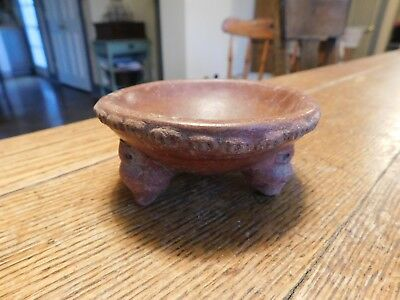 Old PRE COLUMBIAN Pottery 3 Legs Tripod Bowl-Crimped Rim