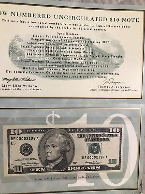 1999 $10 Dollar NOTE   Low Numbered Serial BOOKLET GEM UNCIRCULATED  2197
