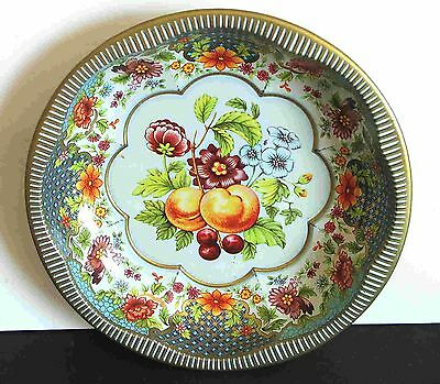 """Designed DAHER Multicolor Fruit Floral Tray Bowl Made ENGLAND 10"""" across FREE SH"""