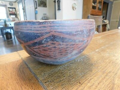 "LG Ancient PRE COLUMBIAN 8"" Pottery Bowl-Painted Red Black Abstract Pattern"