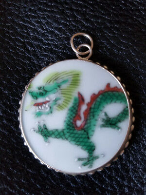 Ming Dynasty Chinese Porcelain Pottery Shard Pendant Dragon
