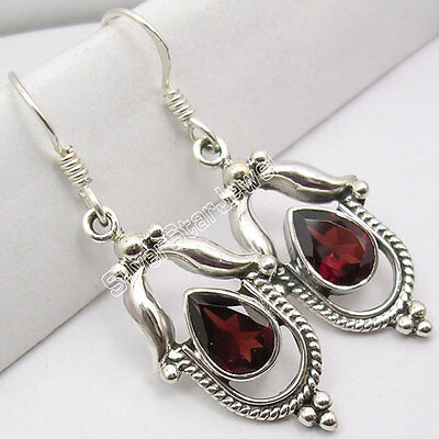 WELL MADE !!! 925 Sterling Silver Genuine GARNET FANCY Dangle Earrings 4.1 CM