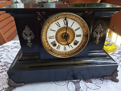 A Victorian Black Marble Mantle Clock
