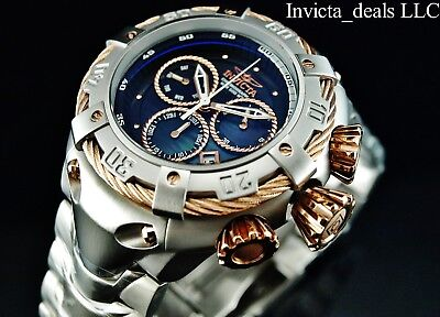 NEW Invicta 52mm THUNDERBOLT Swiss Chronograph Rose Tone Black MOP Dial SS Watch
