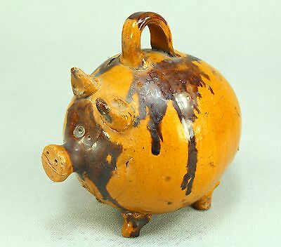 ! Antique c.1900 Folk Art Glazed Red Earthenware Pottery Piggy Still Bank