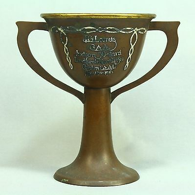 * Antique 1916 HEINTZ ART METAL Copper & Sterling Silver Athletic Trophy