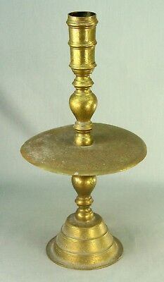"""! 1930's Thai Siamese Tall Tooled Brass Altar Candle Holder Southeast Asian 16"""""""
