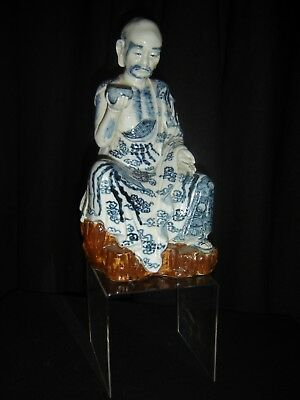 Antique Chinese Qing Seated Immortal Blue And White Monk Porcelain Figurine Rare