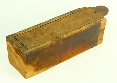 ! Antique Early 19th Century  Wooden Candle Box  Sliding Lid Single Piece Wood