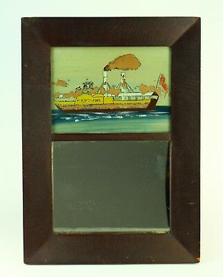! Antque Mid 1800's Reverse Glass Painted, Framed Mirror NEPTUNE Steamboat Ship