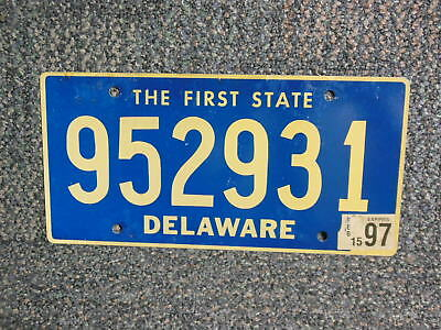 952931 = Febuary 1997 Delaware License Plate  Blue With Gold Letters