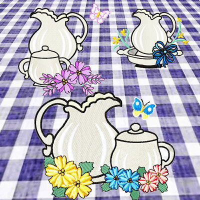 Delicate Tableware 10 Machine Embroidery Designs Cd 3 Sizes Included