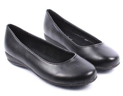Black Faux Leather Youth Church School Uniform Formal Slip On Girls Kids Shoes