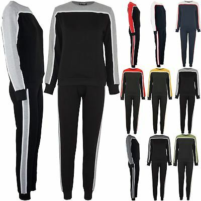 Women Ladies Tracksuit Stripes Contrast Block Panel Loungewear Top Sports Suits