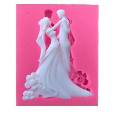 Silicone Wedding Bride Groom Baking Mould Mold Fondant Icing Cupcake Topper DP