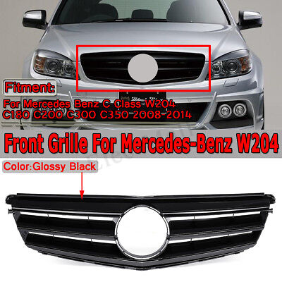 BLACK Front Grill Grille For Mercedes-Benz C Class W204 C200 C300 C350 2008-2014