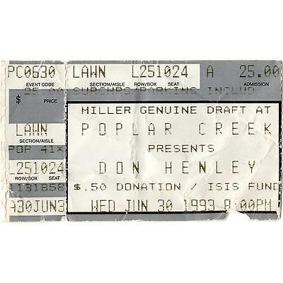 DON HENLEY Concert Ticket Stub CHICAGO IL 6/30/93 POPLAR CREEK THE EAGLES Rare