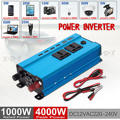 3000W/4000W/5000W Car Power Inverter DC12V to AC110V/220V LCD 4 USB Caravan W6