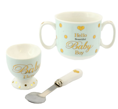 Powder Blue Hello Beautiful Baby Boy Ceramic Feeding Set Presentation Boxed