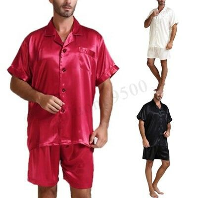 2pcs Mens Womens Short Sleeve Pajamas Set Silk Sleepwear Nightgown Party Pyjamas