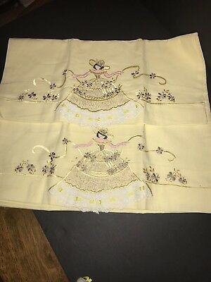 Vtg Hand-Embroidered Southern Belle Standard Pillowcases, Yellow Dress w/Ruffles