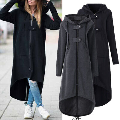 UK Women Winter Zip up Hooded Long Sleeve Warm Coat Jacket Hoodies Outwear Plus