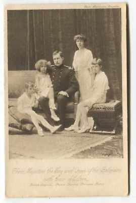 King and Queen of the Belgians with their children - old Tuck postcard No. 4327