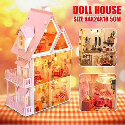 Wooden Dollhouse Pretend Play House Cottage w/ Furniture LED Kid Toy Xmas Gift