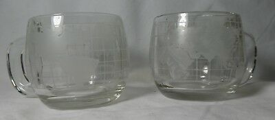 Vintage Nescafe Coffee Glass Cup With A Map Of World Around The Cup Set Of 2