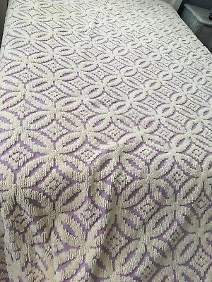 Vintage chenille bedspread Purple Cutter Crafts dolls bears fringe full size