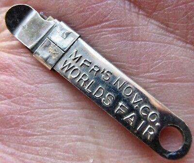 FOB salesman sample 1898 WORLD'S FAIR SOUVENIR sewing SILVER HILLS CO. keychain