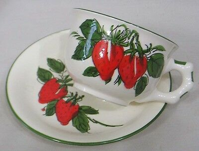 Vintage Japan Large Cup & Saucer with HP Hand Painted Strawberries Green Leaves