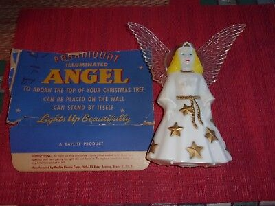 Vintage Celluloid Illuminated Christmas  Angel Tree Topper~l950's~Raylite