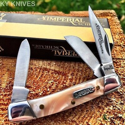 """Imperial Schrade STOCKMAN 2 1/2"""" Pocket Knife Pink Pearl New! IMP18PS"""