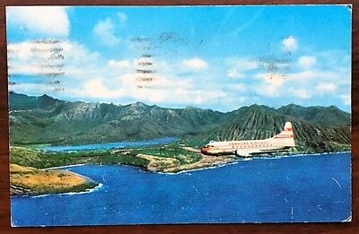 HAWAIIAN AIRLINES Convair 340 In Flight Along Oahu Coastline, 1957 pmk