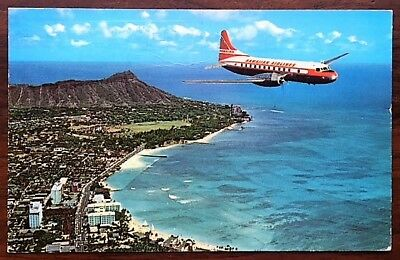 HAWAIIAN AIRLINES Super Convair 340 In Flight Over Waikiki Beach ca1960