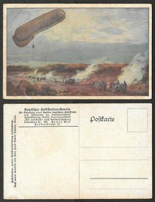 WWI Aviation Postcard - Airship, Zeppelin - Germany Observation Balloon