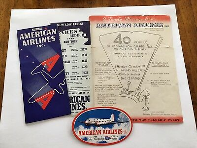 American Airlines  4 I938 Items Brochure, Low Fares & Baggage Anncts,& Blotter,
