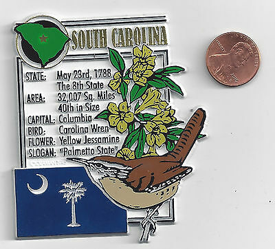 SOUTH CAROLINA   STATE MONTAGE FACTS MAGNET with state  bird  flower  and flag,
