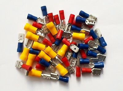 MALE and FEMALE SPADE Terminals, Crimp Connectors 50 Pk. Red, Blue & Yellow