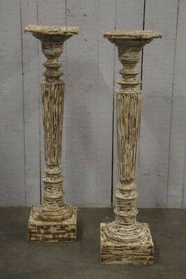 Pair French LXVI original painted columns, Torcheres Or Stands, circa 1870