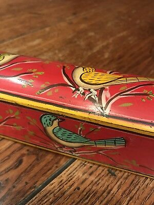 Stunning Antique Persian Hand Painted Pencil Box Christmas Stocking Filler