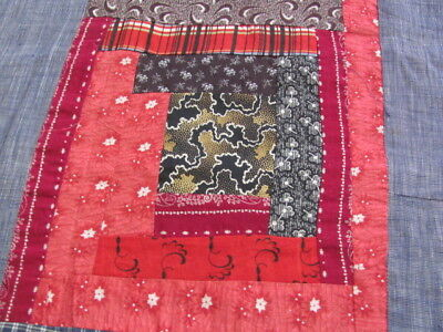 Early 1900's Log Cabin cotton quilt top turkey red cinnamon pinks burgundy