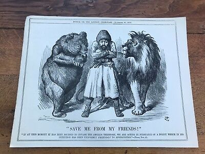"1878  cartoon print . "" save me from my friends  "" afghanistan war theme"