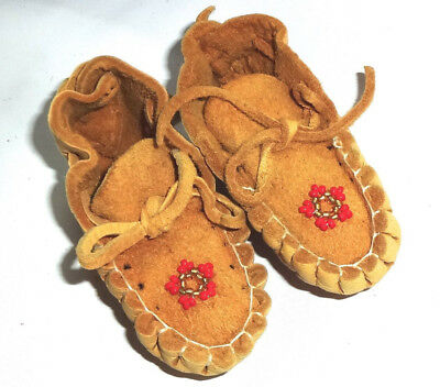 Small Pair of Moccasins, Blue,  Southwestern, Apache Made