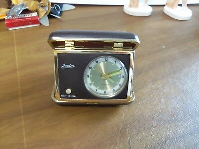 Vintage Linden Travel Alarm Clock in Case Lighted Dial Glowing Hands ~ Works!