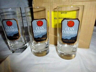 Lot 6 Verres Tube Whisky Clan Campbell  21 Cl  Vintage Collection