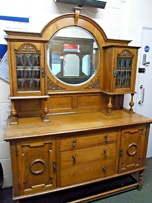Vintage / Antique Solid Oak EDWARDIAN STYLE Rustic Sideboard With Mirror - BA3